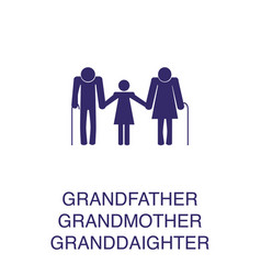 Grandfather grandmother and granddaughter element vector