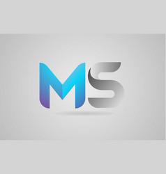 Grey blue alphabet letter ms m s logo icon design vector