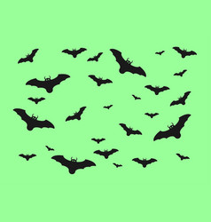 halloween bats isolated on green background vector image