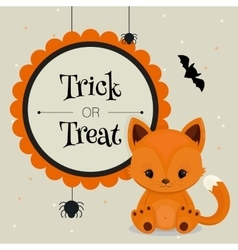 Halloween card or background with little fox vector image