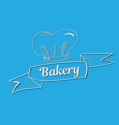 hand drawn bakery text with chef s hat vector image