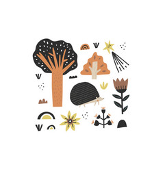 hand drawn forest tree flowers and cute hedgehog vector image