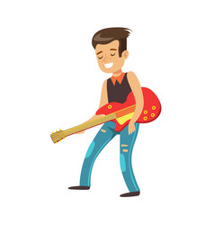 happy young boy playing guitar colorful character vector image vector image