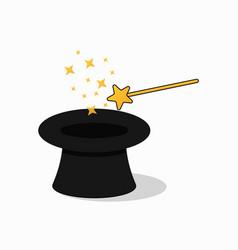 hat and magic wand vector image