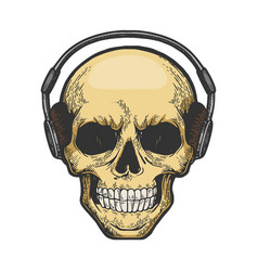 human skull in headphones sketch engraving vector image