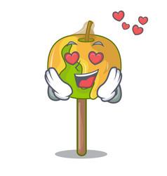 In love candy apple mascot cartoon vector