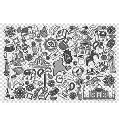 india doodle set vector image