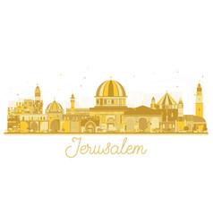 jerusalem israel skyline silhouette with golden vector image