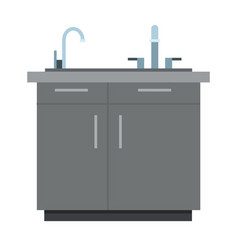 Kitchen cabinet with sink icon flat isolated vector