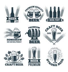 labels or badges set beer elements for emblem vector image