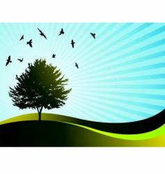 Landscape with tree vector