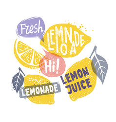 Lemon with leaf and text vector
