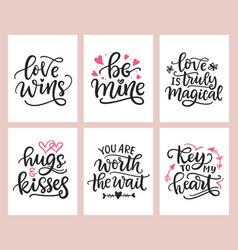 love lettering romantic invitation card design vector image
