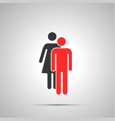 man and woman silhouette couple simple black icon vector image