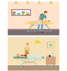 Massage masseur and chocolate spa set vector