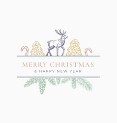 Merry christmas greeting card or label frame vector