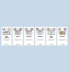 Mobile app onboarding screens coding software vector