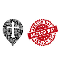 Mosaic christian cross marker with grunge angkor vector