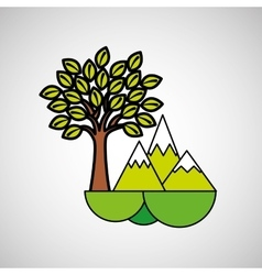 Mountains tree ecology symbol graphic vector