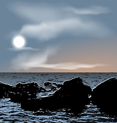 Nature background sea stones during dusk vector image