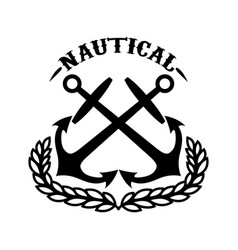 Nautical emblem template with wreath and crossed vector