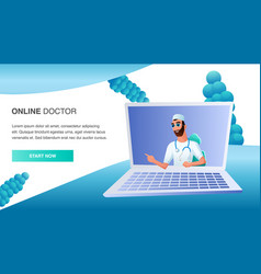 Online doctor consult patient distant treatment vector