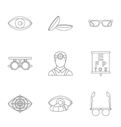 Ophthalmology icons set outline style vector
