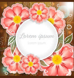 pink flowers on wooden background vector image