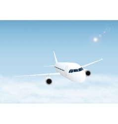 Plane in the sky with clouds vector