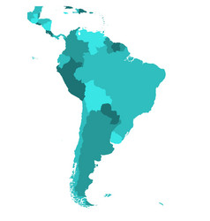 Political map of south america simple flat blank vector
