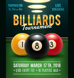 Pool billiards tournament poster vector