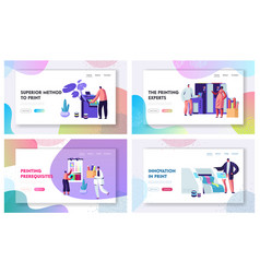 Printing house advertising agency website vector