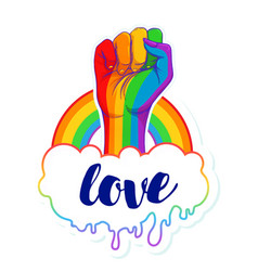 rainbow colored hand with a fist raised up gay vector image