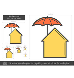 Real estate insurance line icon vector