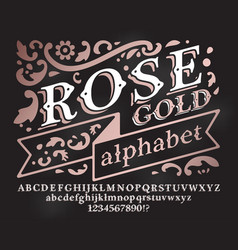 Retro rose gold font vector
