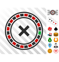 Roulette icon with bonus vector