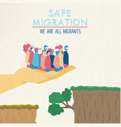 Safe migration concept diverse ethnic people vector
