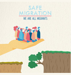 Safe migration concept of diverse ethnic people vector