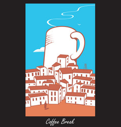 Scene with a cup of coffee in town vector