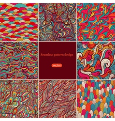Set of eight colorful wave patterns seamlessly vector