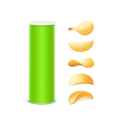Set of Green Container Tube with Potato Chips vector
