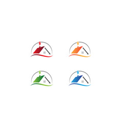 Set real estate logo design template vector