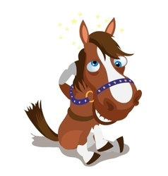 Shell-shocked brown horse on a white background vector