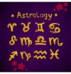 Signs of the Zodiac Star Violet Background vector