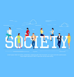 society modern people in a flat style vector image