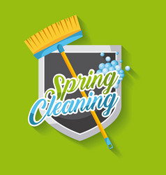 Spring cleaning poster with broom shield emblem vector