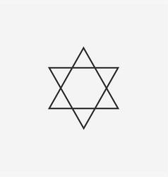 star of david flat black outline design icon vector image