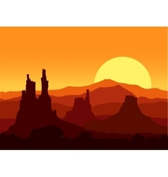 Sunset in rocky mountains vector