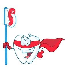 Superhero Tooth With Toothbrush vector