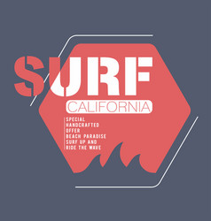 surfing california typography for t-shirt print vector image